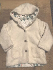 M&S Baby Girl Faux Fur Jacket, Age 18-24 Months, Cream, BNWT