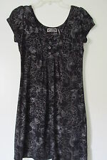 Guess Black Floral Cap Sleeve Above Knee Rayon Dress SIZE:M