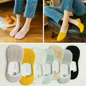 1-5 Pairs Women Invisible No Show Nonslip Loafer Boat Ankle Low Cut Cotton Socks