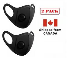 2 Pack - Protective Reusable Face Mask with Breathing valve Ships from Canada