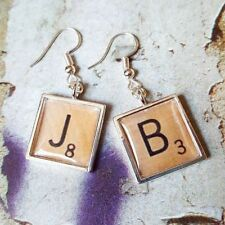 Personalised SCRABBLE TILE EARRINGS cool GIFT handmade LETTERS retro INITIALS