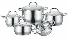 CONCORD 9 Pc Stainless Steel 5-Ply Cookware Set w/ Steamer Induction Compatible