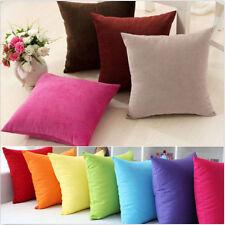 Plain Solid Throw Home Decor Pillow Case Bed Sofa Waist Cushion Cover Pink SF