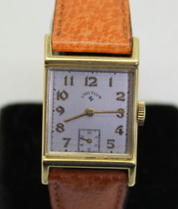 NICE ESTATE LORD ELGIN - 559 21J 14K Gold Wrist Watch Hirsch w/ Boar Band