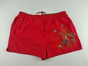 Vintage Perry Ellis Marina Men XL Red Swim Trunk Embroided Lined Elastic Waist Z