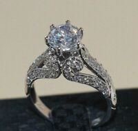 3.00 Ct Round Cut Diamond Vintage Engagement Ring 10k White Gold Finish