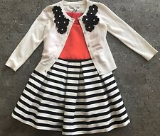 Milly Minis Girls Pleated Dress/Cardigan Set Size 5 Red/Black/White NWT STUNNING