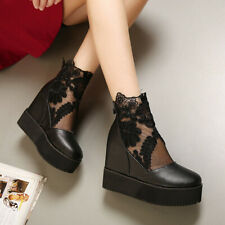 US7 Womens High Hidden Heels Platform Round Toe Lace Ankle Boots Muffins Shoes