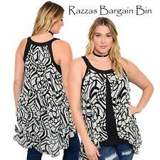 New Ladies Black & White Top Plus Size 16/1XL (1047)OH