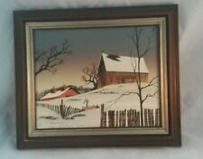 """H. HARGROVE OIL PAINTING Barn/Farm Winter Scene Water Spout 8""""10"""