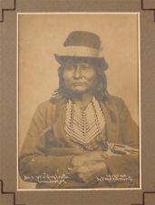 1901 NATIVE AMERICAN COMANCHE INDIAN CHIEF CABINET CARD PHOTO BY WILL SOULE #2