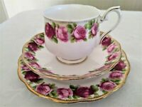 Royal Albert Pink Roses Bone China Tea Cup/Saucer/Dessert Plate The Old Country