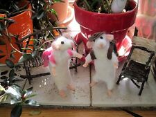 """Handmade Needle Felted Mice """"BACKPACK"""" WHITE MOUSE ART Soft Sculpture 7""""  CUTE!!"""