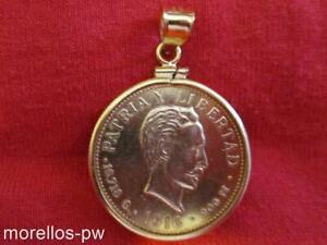 SOLID  22KT 10 PESOS 14.1 GR COIN IN A 27MM CHARM PENDANT BEZEL 14KT GOLD FILLED