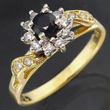 Traditional SAPPHIRE & 16 DIAMOND HALO 18k Solid Yellow GOLD CLUSTER RING Sz N
