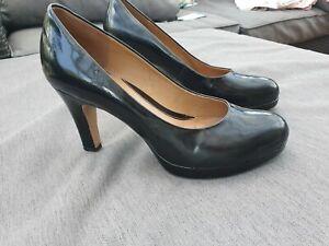 🌺 CLARKS SOFTWEAR Black Patent Leather Court Shoes Pumps UK5D Office Work