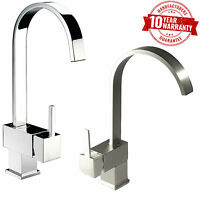 Modern Chrome / Brushed Steel Monobloc Single Lever Kitchen Mixer Sink Tap  *4