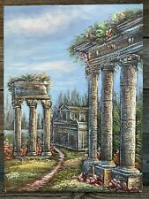 Oil on Canvas Painting Signed Stephen Ancient Ruins Fantasy 16x12