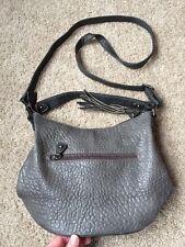David Jones Grey Crossbody Handbag Purse Bag Faux Leather Tassel Top Zip EEUC!