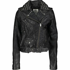 DIESEL Black Leather Studded Jacket Size 8 years