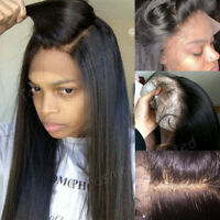 Silk Top Indian Human Hair Full Lace Wig Straight Lace Front Wigs Pre Plucked Ds