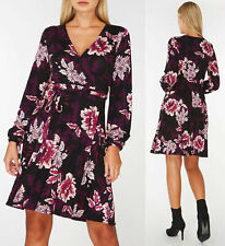 Dorothy Perkins Floral Print Wrap Dress with Blouson sleeves Sizes  UK 12-22