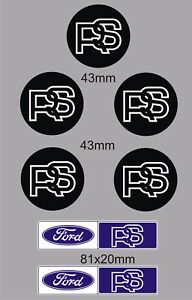 5 x FORD ESCORT Mk1 & Mk2 RS2000, Mexico, Wheel center Decals, Stickers RS