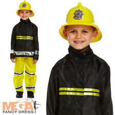 Fireman Boys Fancy Dress Kids Fire Fighter Uniform Occupations Costume Outfit