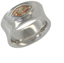 Large 925 Sterling Silver Amber Cubic Zircon Stone Ring Size 5.25 Comfort Fit