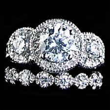 Fancy_3-Stone Round Brilliant Wedding Set Cz Ring_Sz-5_925 Sterling Silver