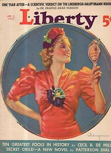 1937 Liberty April 3-Lindbergh Kidnapping case;Fighting baseball;Cecil B DeMille