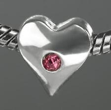 Silver Tone Love Heart Charm Bead With Pink Rhinestone Fits European Bracelet