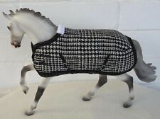 Handmade rug blanket fit 1:9 scale Traditional Breyer toy horse black white