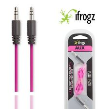 iFrogz Aux 3.5mm to 3.5mm Jack Audio Connection Cable 1m Pink Headphone Car Lead