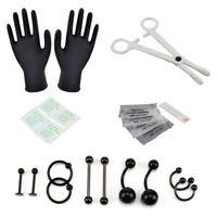19PCS/Set Body Piercing Tool Kit Ear Nose Navel Nipple Needles Forcep Jewelry HF