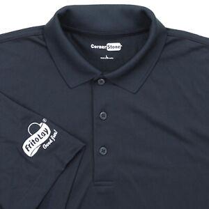 "Frito Lay Men Large 47-48"" Polo Shirt Blue Polyester Employee Uniform S/S Logo"