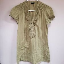 Fang Womens Green Stripes Ruffled Split Neck Short Cap Sleeve Blouse Size Large