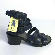 Fly London Women Gladiator Sandals Ceda Leather Block Heel Blue 35
