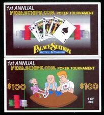 $100 Las Vegas Palace Station Poker Tournament Plaque - Chip Rack #V9363