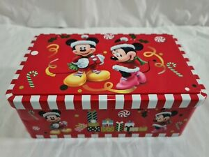 Rare Disney Mickey & Minnie Mouse Christmas Storage Biscuit Tin Collectable