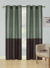 1 PC 2-TONE SILVER GROMMET WINDOW CURTAIN LINED BLACKOUT PANEL TREATMENT (EID)