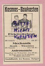 STUTTGART, Werbung 1925, Kosmos-Verlag Kosmos-Kinder-Baukasten Elektrotechnik