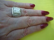 Men's Ladies Ring With Shell Faux Pearl Gemstone Silver Plate Size 9.0   #R10.