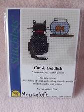 MOUSELOFT STITCHLETS CROSS STITCH KIT ~ CAT & GOLDFISH ~ NEW