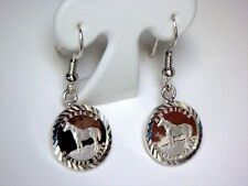 1/20 .999 SILVER  Quarter Horse Coin in S/S Diamond-Cut Earrings