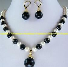 GENUINE 7-8MM White Pearl &Black Agate Necklace Earring Set 18''