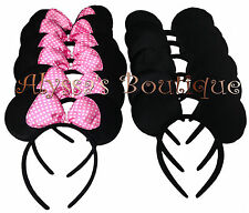 *24 pc* Minnie Mickey Mouse Ears Headbands Black Pink Bows Birthday Favors Cute