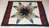 Patchwork Quilt Wall Hanging, Star With Diamonds, Floral Calico Prints, Navy