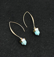 Gold Plated Blue Turquoise Fashion Drop Dangle Natural Stone Earrings