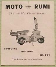 MOTO RUMI SCOOTERS Sales Brochure c1960 PRODUCTION RACER Tipo Sport BOL D'OR +